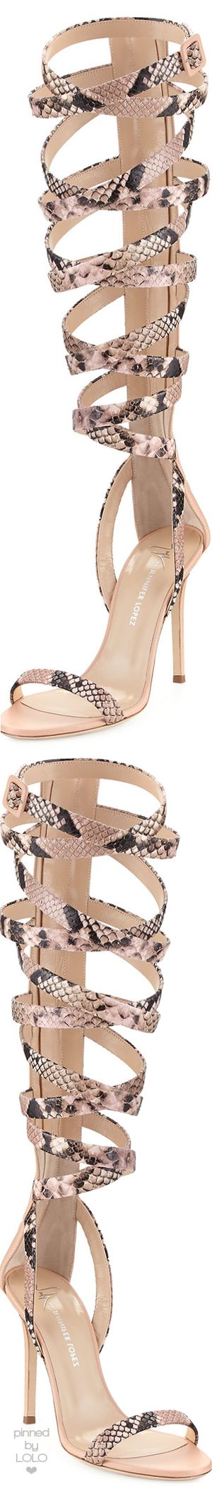 Giuseppe for Jennifer Lopez 105 Snake-Print Leather Lace-Up Sandals