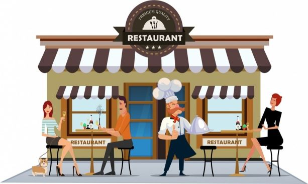 restaurant exterior drawing cook diners icons colored cartoon | Restaurant exterior, Restaurant exterior design, Resturant design