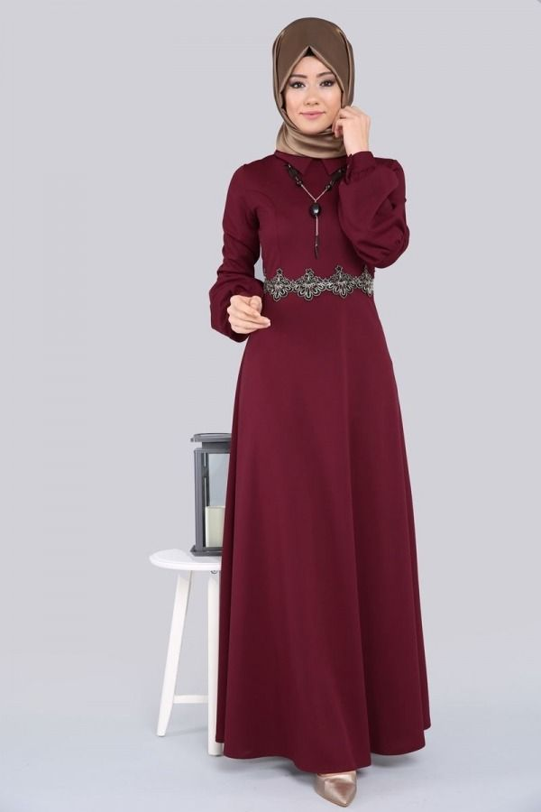 4e470cb05d2ab Prenses Kol Tesettür Elbise PRM3025 Bordo | bere | Elbise modelleri ...