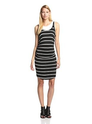 48% OFF KAIN Label Women's Lulu Dress (Black/White Stripes Over White)