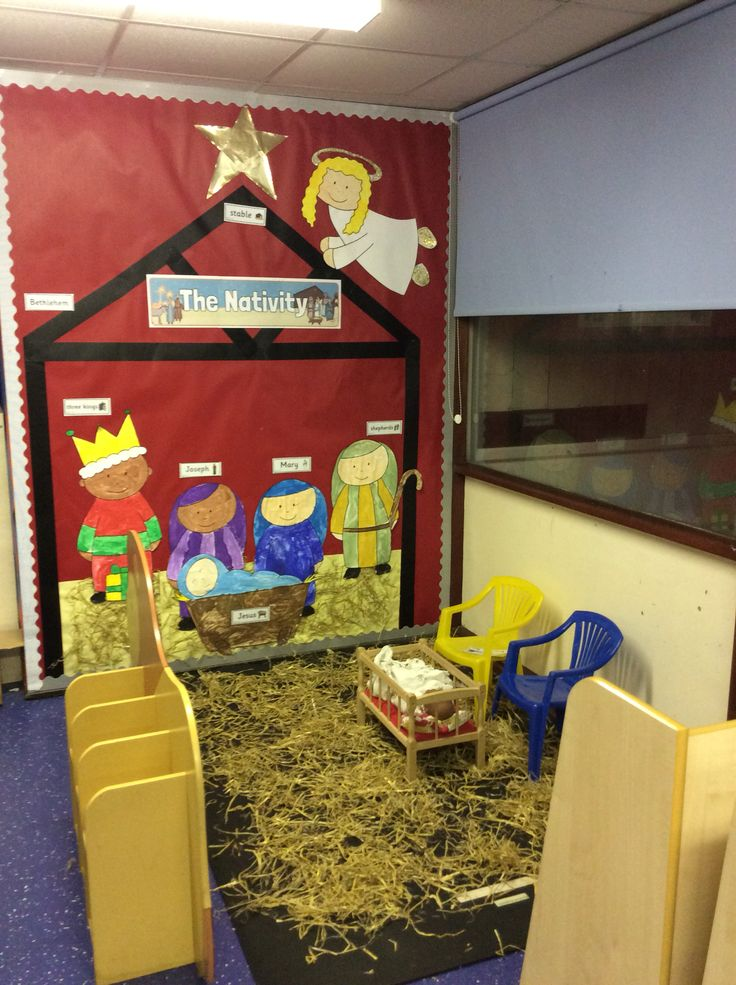 'The Nativity' display, role play area EYFS