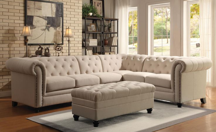 Oatmeal Button-Tufted Sectional Sofa with Armless Chair Chippendale Inspired Style