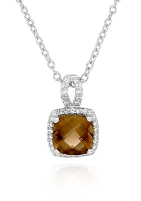 Belk & Co. Women Smoky Topaz And White Sapphire Pendant Necklace In Sterling Silver - Smoky Topaz - 18