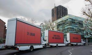 'Billboards still work': Frances McDormand backs Grenfell activists | UK news | The Guardian
