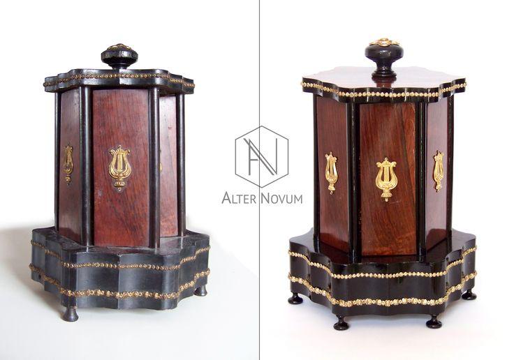 XIX- wieczny niezwykły stojak - pojemnik na cygara. Po renowacji. ///  Antique cigar box in palisander veneer, 19th century. Renovated by alternovum.com