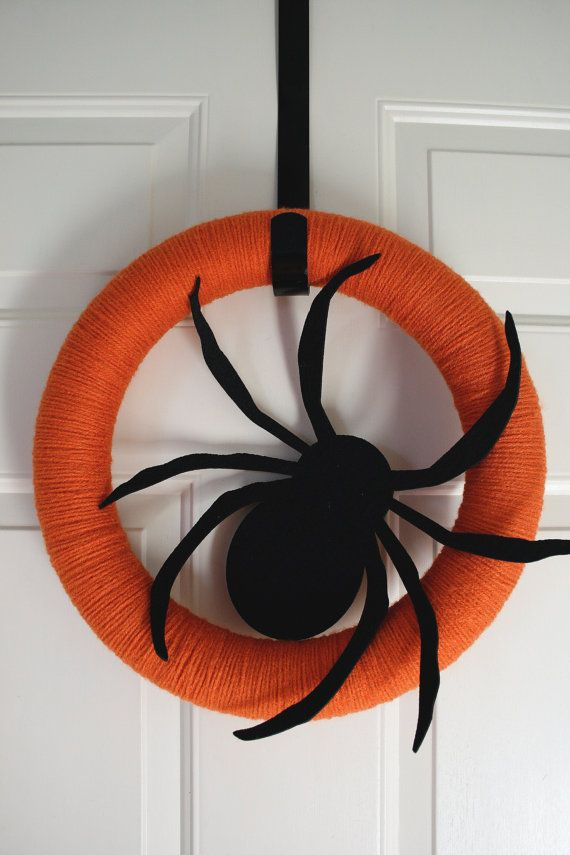 yarn wreath halloween pumpkin spice spider black by hawthornehill, $17.00