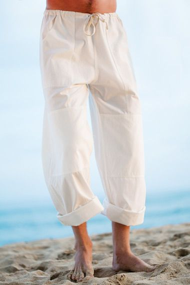 Island Importer - Kundalini Yoga Cotton Pant - Comfortable, loose-fitting, and durable 100% cotton yoga pants for men. Featuring an adjustable drawstring waist, double layered knees, back slit and deep, front cargo-style pockets.