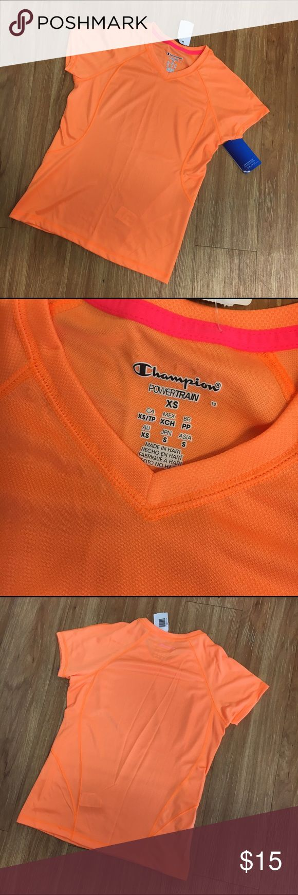 Champion Powertrain NEW NWT Orange Shirt Top XS Champion Powertrain NEW NWT Orange Shirt Top XS  New with tags.  Womens size XS.  V neck.  Lightweight.  With DoubleDry technology for a cooler, drier workout.  #new #nwt #orange #shirt #top #powertrain #champion #athleisure #workout Champion Tops Tees - Short Sleeve