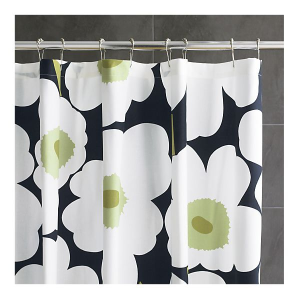 black shower curtains shower curtain rings hall bathroom master bathroom bathroom ideas bathrooms crate and barrel crates marimekko