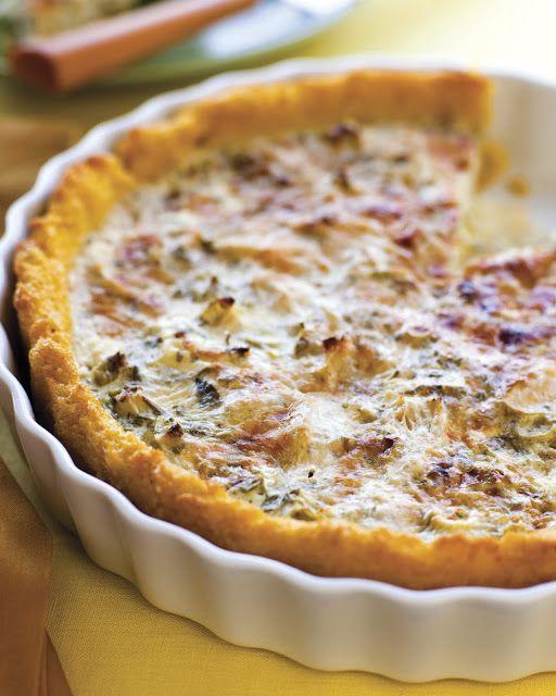 Tarta de alcachofas, con romero, queso parmesano y queso de cabra