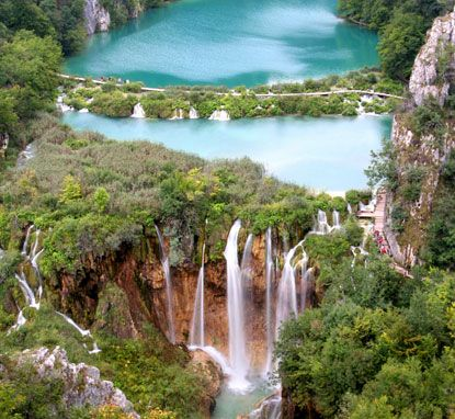 Between the cities of Zagreb and Zadar lies Plitvice National Park, which is one of the most popular tourist attractions in Croatia.