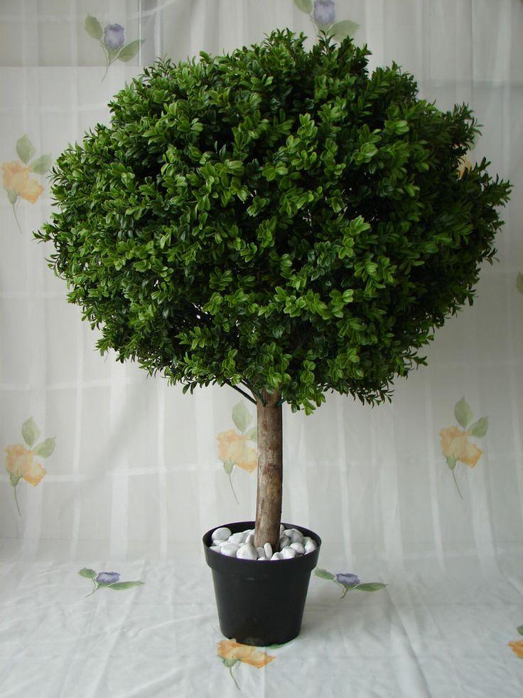 Künstlicher Buchsbaum 95cm Buchsbaumkugel getopft Echtholzstamm Buxus Buchskugel