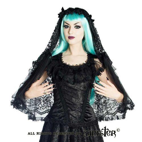 Elinor kanten sluier met hoofd accessoire en satijnen rozen zwart - Victoriaans Gothic Halloween - Sinister