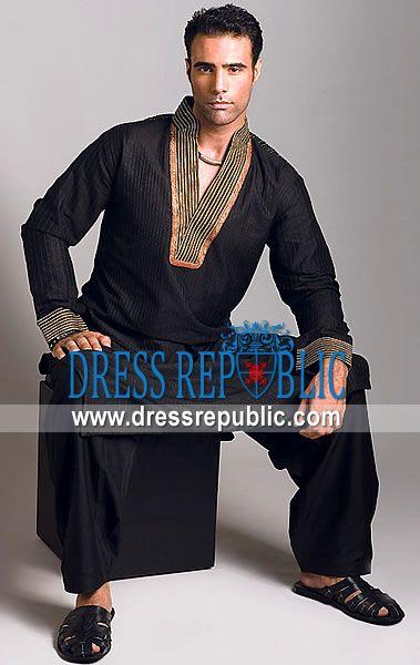 Style DRM1198, Product code: DRM1198, by www.dressrepublic.com - Keywords: Muharram Mens Shalwar Kameez, Muharram Salwar Kameez Online Shop, Black Kameez