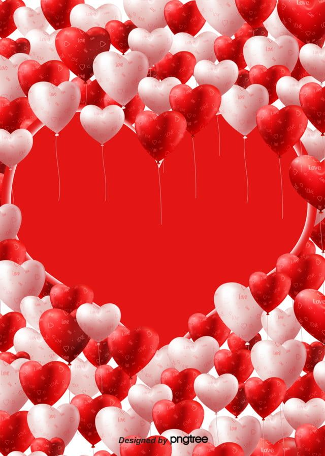 Background Of Valentines Day Romantic Heart Shaped Balloon Design