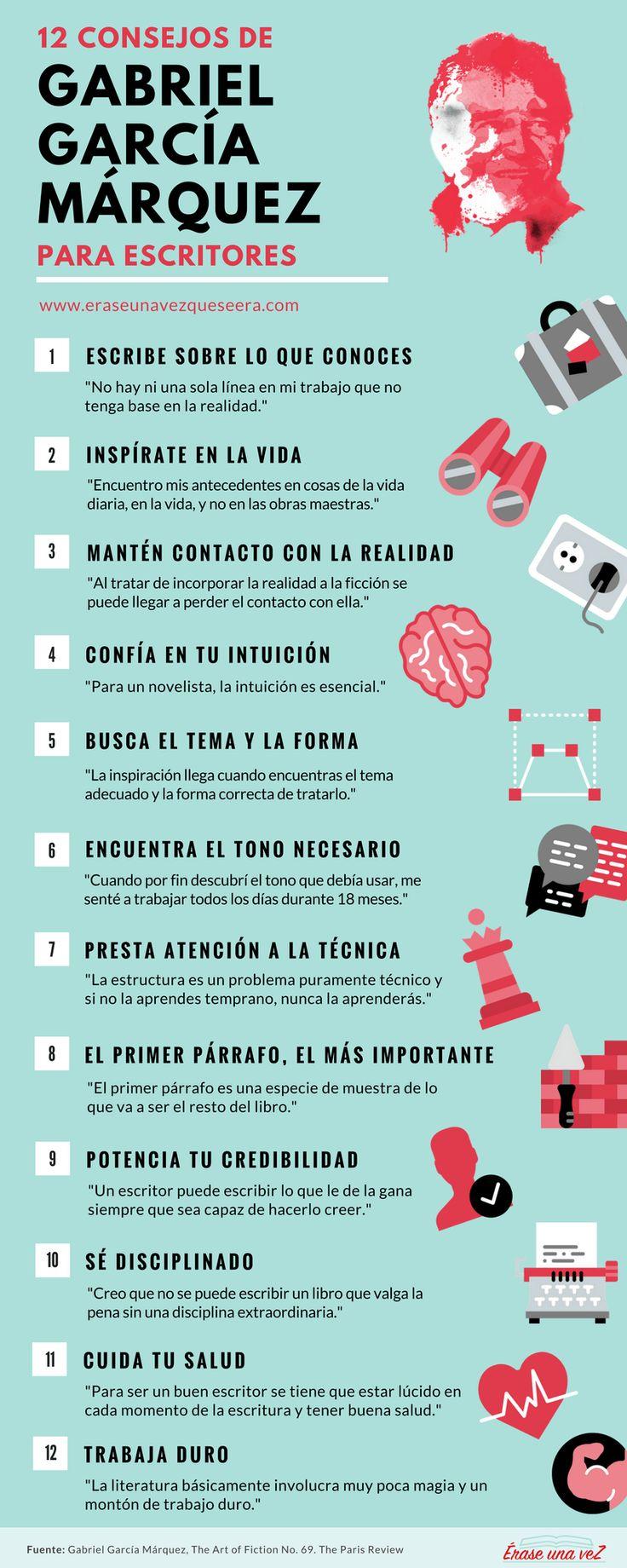 best ideas about gabriel garcia marquez garcia infografiacutea 12 consejos de gabriel garciacutea maacuterquez para escritores
