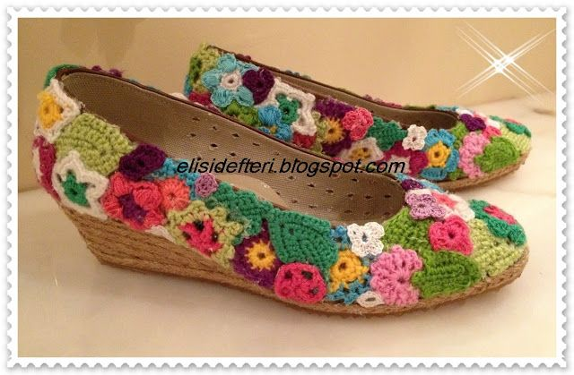 diy-shoes decorated with crochet charms