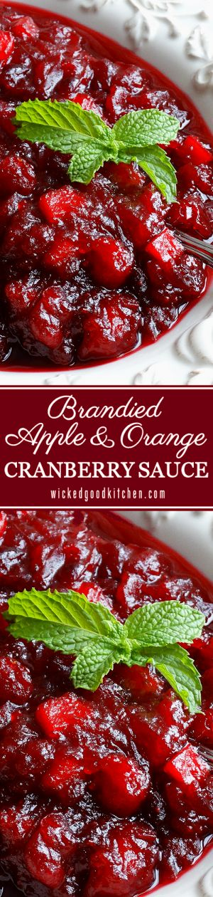 The BEST Cranberry Sauce ever! ~ Made with apple cider, chopped tart apple, fresh orange juice and zest, spiced and sweetened just right, with a splash of Grand Marnier® orange brandy. Everyone will rave and LOVE this recipe! #Thanksgiving #Christmas #Hol (fruit tart apple)