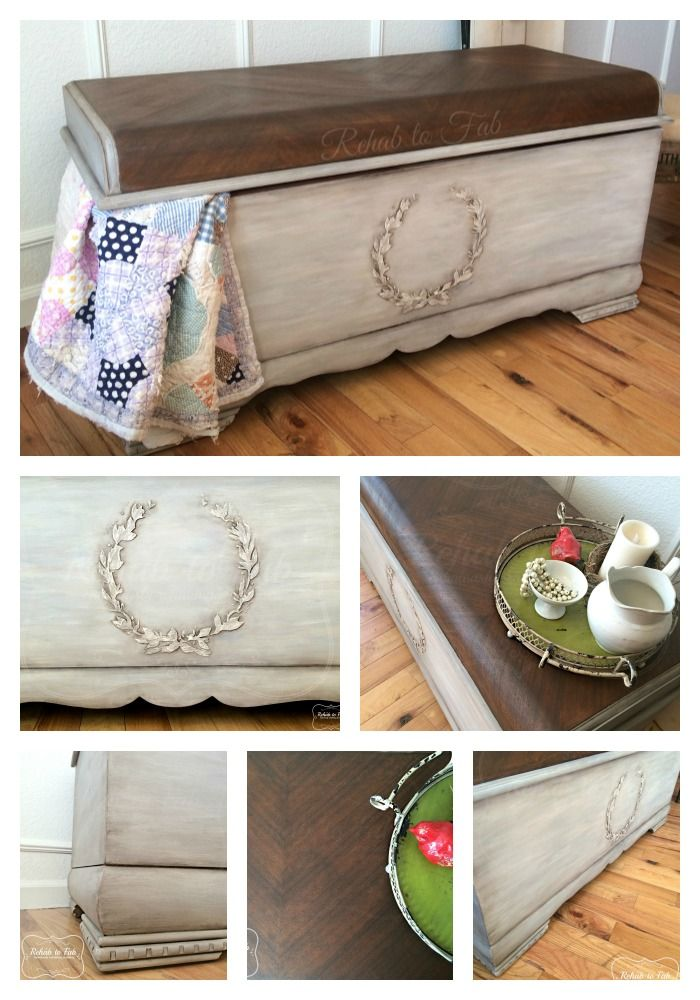 This Waterfall Lane cedar chest had a huge make over.  Raised wreath stencil was made with Bondo (tutorial on Rehab to Fab). I then painted it with @paulablank in Rainy Day, Scanda and Buttermilk. HTP's Muddy pond wax was used over the entire piece. I then use HTP's Ancient Aging Powder on the details, edges and creases. Top was stained with @generalfinishes  Antique Walnut Gel stain. Entire piece will be top coated with HTP's Clear Patina.