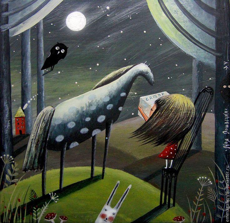 Купить Моя лошадка. - комбинированный, лошадка, любовь, сувенир, подарок, Керамика, картина, принт