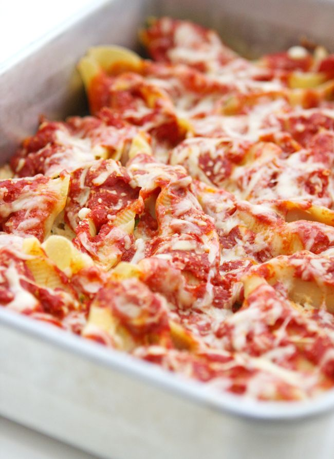Four cheese stuffed shells recipe  ***Marie's note,,if I make, I will add ground beef to spaghetti sauce***