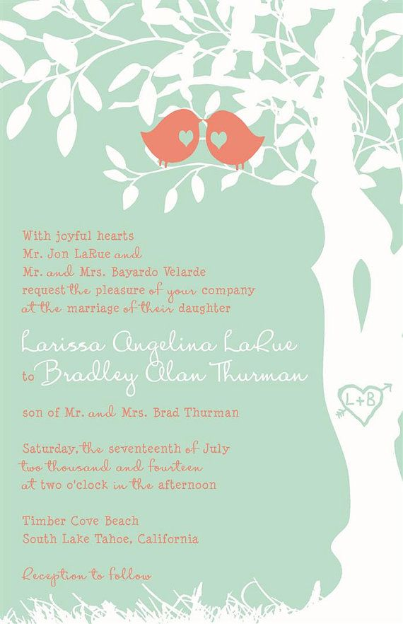 Mint Green and Coral Wedding Invitations Custom by InvitingMoments