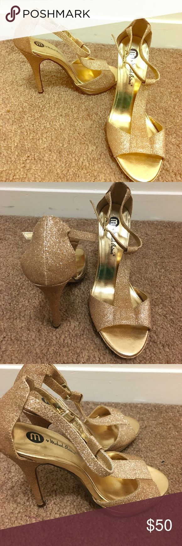 Gold peep toe strap up heels Hi! I'm selling a pair of gold peep toe sparkly heels. I worn these to a wedding and only was in them for about 3 hours. Super comfortable. Shoes Heels