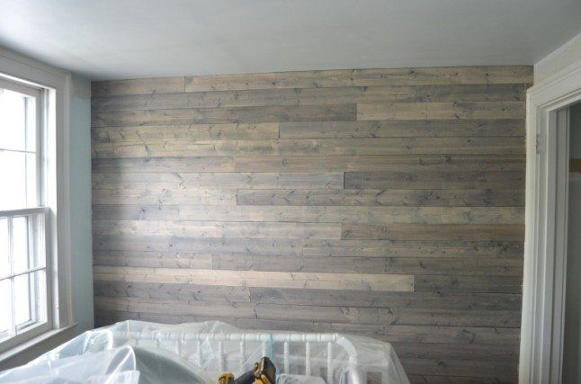 Finished plank wall with 1x4 boards