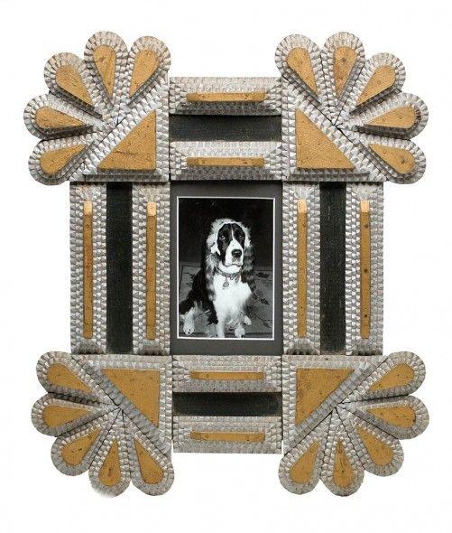 tramp art frame with dog nashville arts mag
