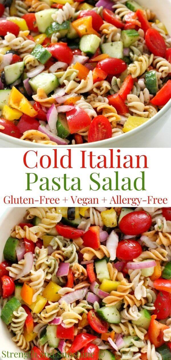 Cold Italian Pasta Salad Gluten Free Vegan Allergy Free Recipe In 2020 Pasta Salad Italian Dairy Free Pasta Salad Recipe Cold Italian Pasta Salad