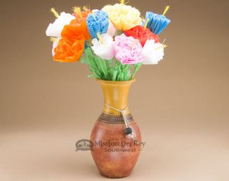 Mexican Clay Pottery Vase & Paper Flowers (p360) -Clearance