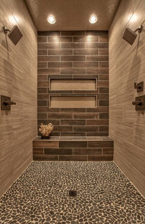 Master Bath Shower Wood Look Tile Pebble Shower Floor