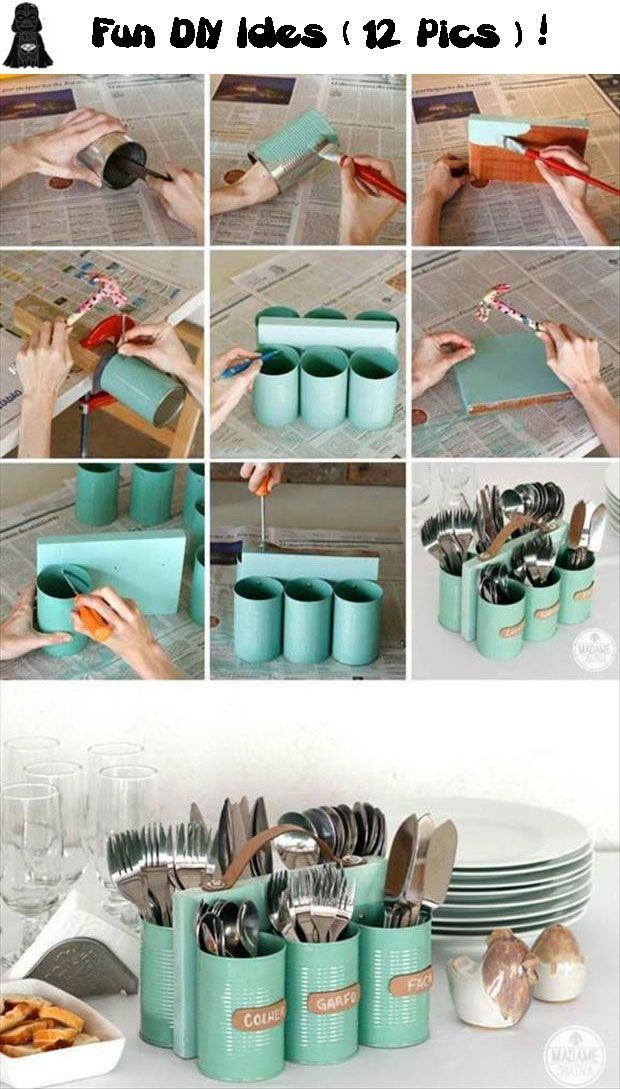 Fun DIY Craft Ideas ( 12 Pics)!   Love the utensil holder and the monster holder from shampoo bottles