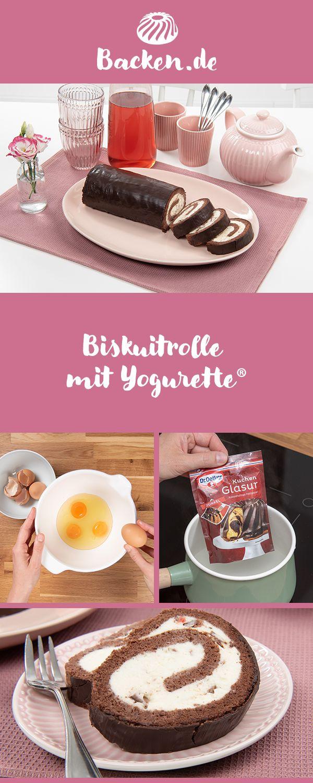 Biskuitrolle Mit Yogurette Rezept Von Backen De Rezept Schokoriegel Kuchen Kuchen Biskuit