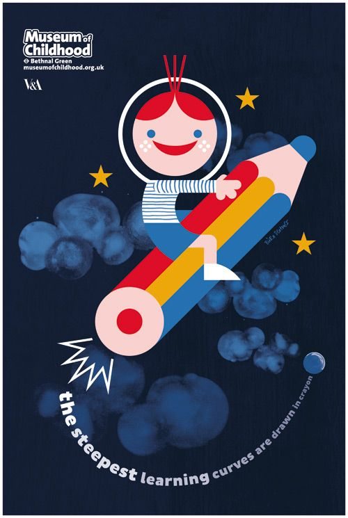 Illustration & Poster design «The steepest learning curves are drawn in crayon» for the V Museum of Childhood