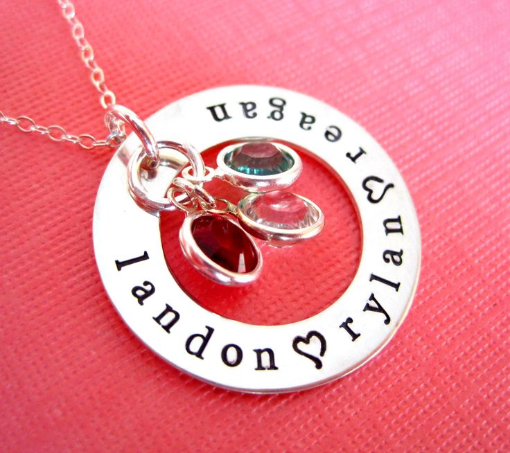 LOVES of My Life in Typewriter Font - Hand Stamped Mother's Jewelry.... I just ordered this with my 4 kids names. I can't wait to get it!
