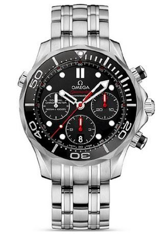 Omega Seamaster Automatic Chronograph Black Dial Stainless Steel Mens Watch 21230445001001
