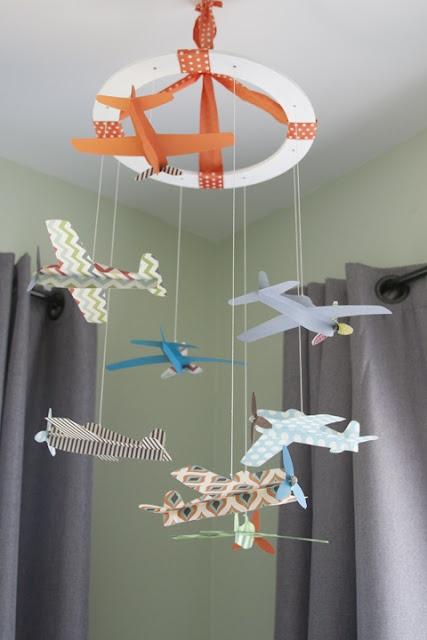DIY airplane baby mobile