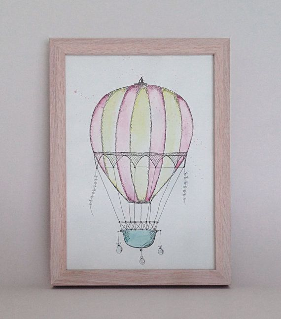 Hot air balloon drawing using pen and watercolour paint. This is an original, NOT a print. A4 size, 200gsm paper. Perfect for a childs bedroom.