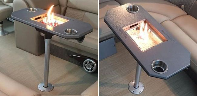 These Fire Pits For Pontoon Boats Were Very Popular When First Released A Few Years Ago Quickly Selling Out Buy One Of Thes Boat Table Pontoon Fire Pit Table
