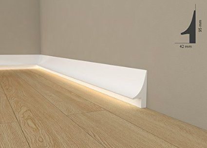 """Licht Fußleiste """"Wiesemann QL007"""" - Sockelleiste für indirekte Beleuchtung (aus hochfestem Polyurethan)"""