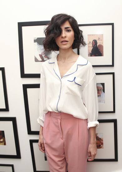Cute bob, white button down with blue piping and blush trousers