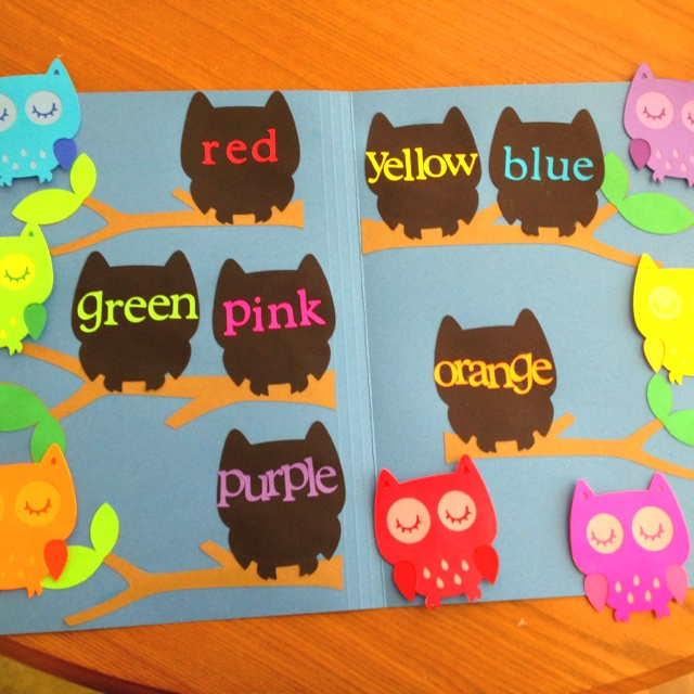 Owl-themed file folder game for kindergarten