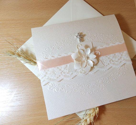 Handmade girl christening invitation/Baptism invitation/Wedding flower invitation/Cross christening invitation/Unique baby shower invitation