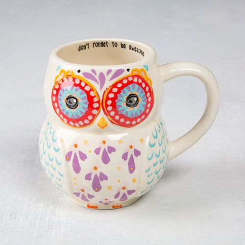 Whoooo doesn't love our owl mugs?? We sure do, so we made some in adorable folk art designs! Generous 16-ounce ceramic mug in a fun owl shape, with a brightly colored face and purple and teal feathers.