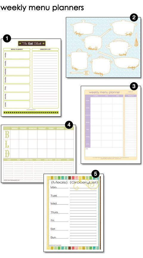 weekly menu planner printables