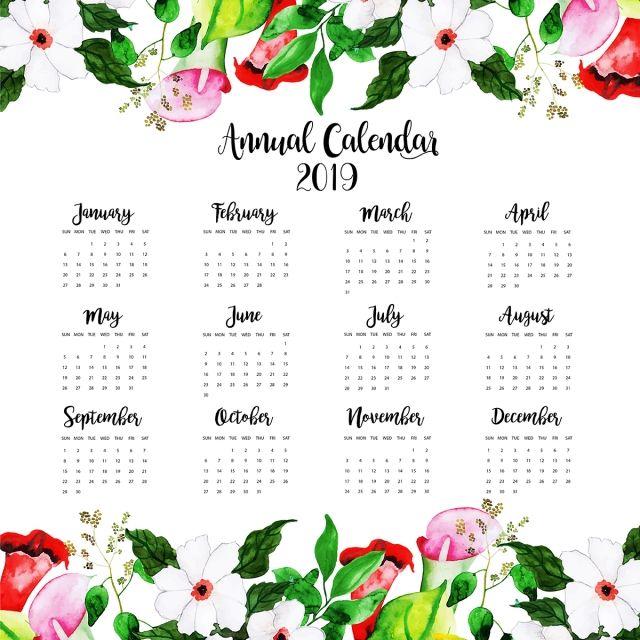 2019 Watercolor Floral Annual Calendar Calendar Design