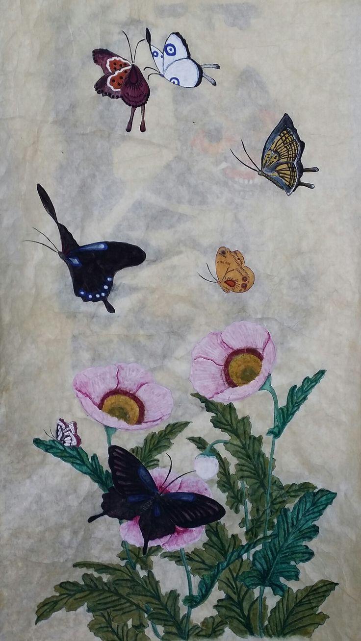 첫작품 까치와 호랑이(한국화물감)는 화실에서 꽃과 나비(분채)는 집에서 혼자 맘대로
