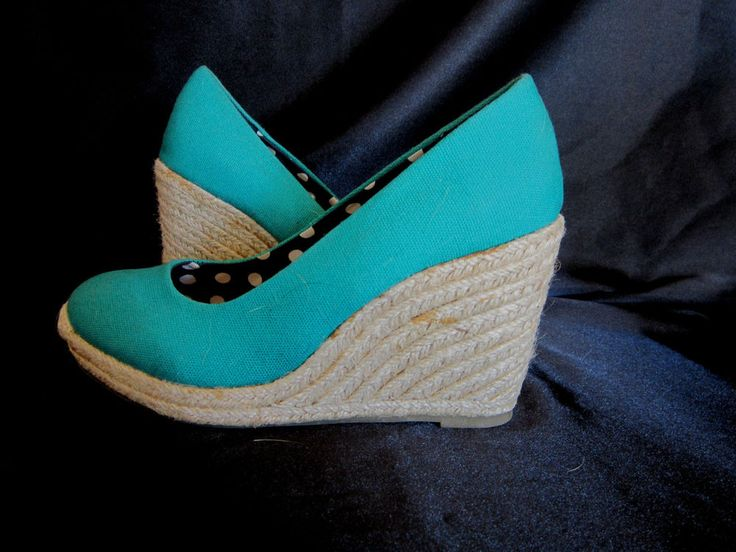 MERONA TURQUOISE WEDGES with Canvas Upper and Braided Twine Wedge SIZE 6 #Merona #PlatformsWedges #Casual $14.99