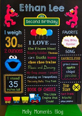 Customized/Personalized Birthday Stat Poster - Sesame Street / Elmo themed! Kids of all ages will love a poster created for their specia day and to be displayed at their party!